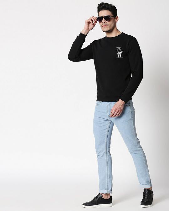 Shop Peace Out Astronaut Fleece Sweater Black-Full