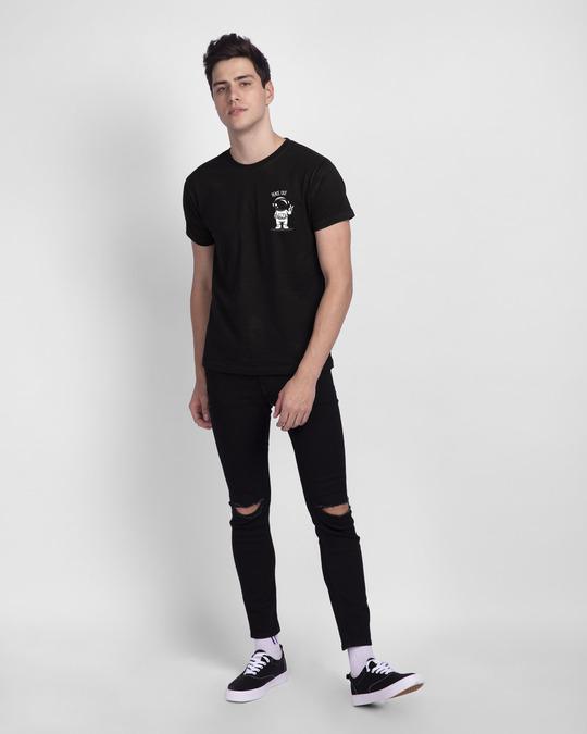 Shop Peace Out Astronaut Half Sleeve T-Shirt Black-Full