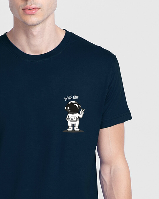 Shop Peace Out Astronaut Half Sleeve T-Shirt Navy Blue-Front