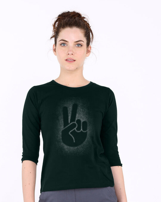Shop Peace Out Shadow Round Neck 3/4th Sleeve T-Shirt-Front