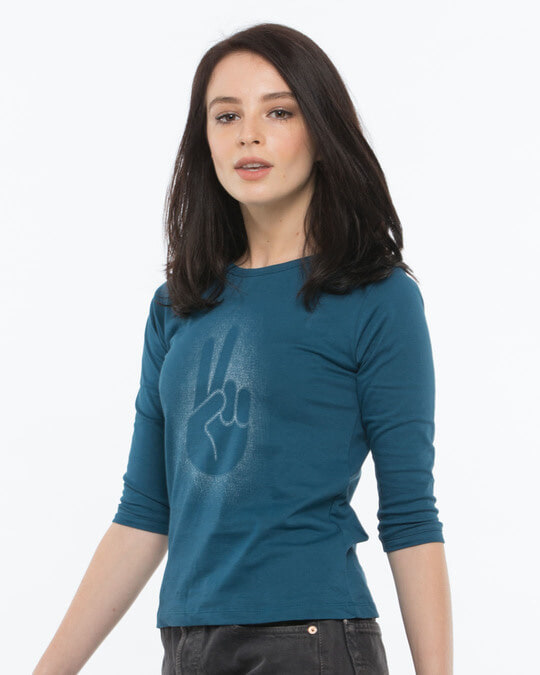 Shop Peace Out Shadow Round Neck 3/4th Sleeve T-Shirt-Back