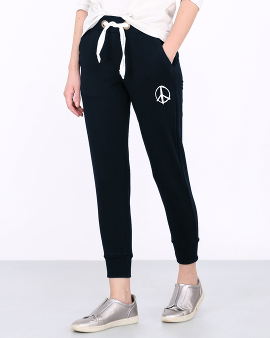 Shop Peace Symbol Fleece Joggers-Front