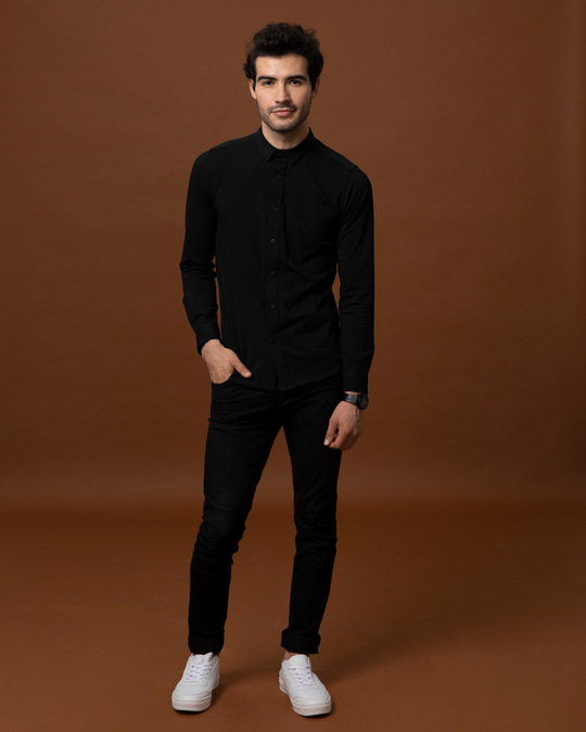 Shop Peach Black Slim Fit Stretchable Knitted Shirt