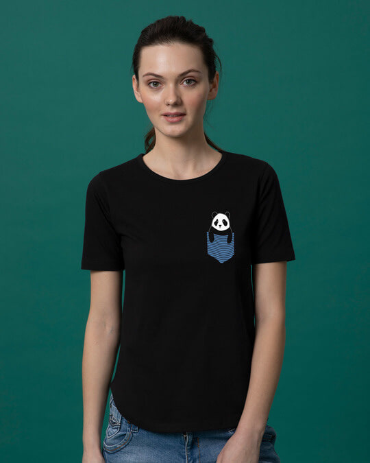 Shop Peek-a-boo Panda Basic Round Hem T-Shirt-Back