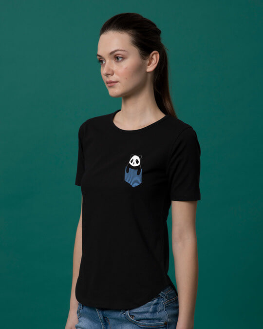 Shop Peek-a-boo Panda Basic Round Hem T-Shirt-Design