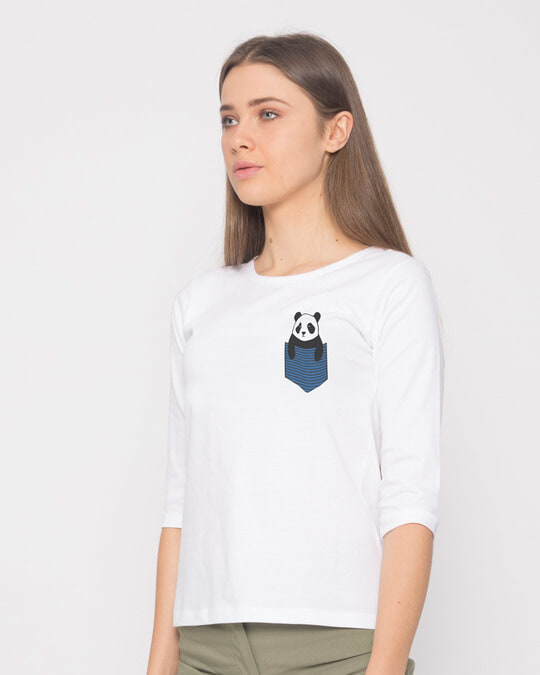Shop Peek-a-boo Panda Round Neck 3/4th Sleeve T-Shirt-Design