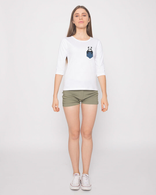 Shop Peek-a-boo Panda Round Neck 3/4th Sleeve T-Shirt