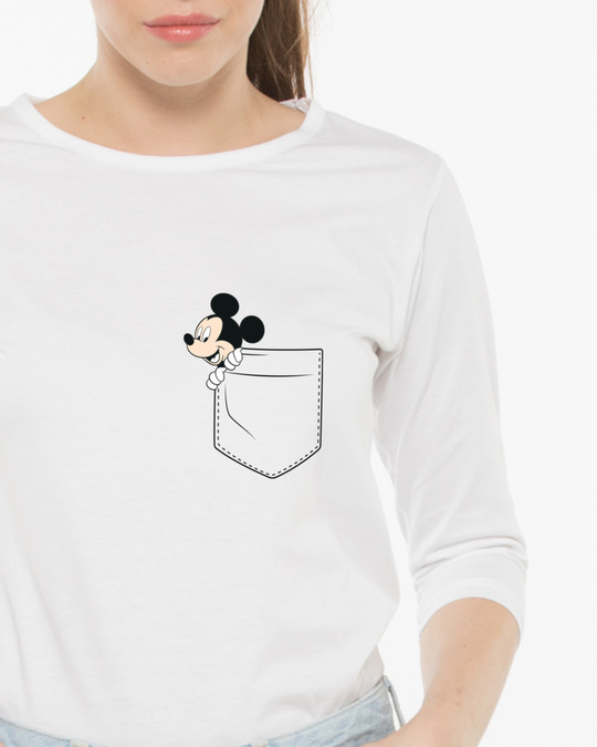 Shop Peek-a-boo Round Neck 3/4th Sleeve T-Shirt (DL)-Front