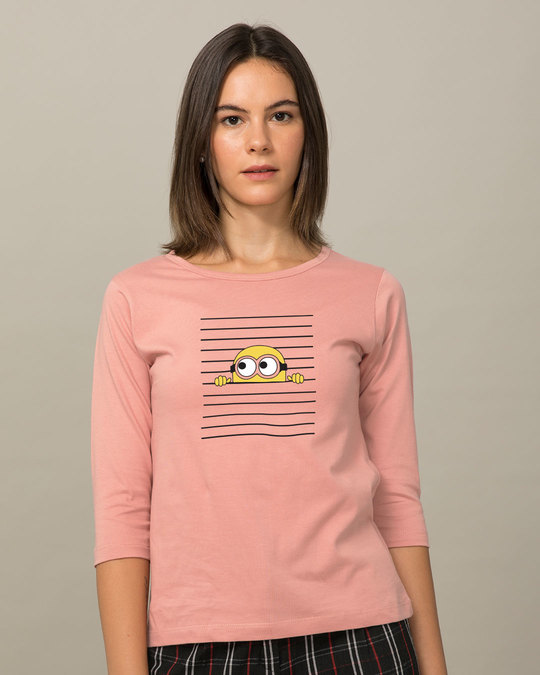 Shop Peek-a-minni Round Neck 3/4th Sleeve T-Shirt-Front