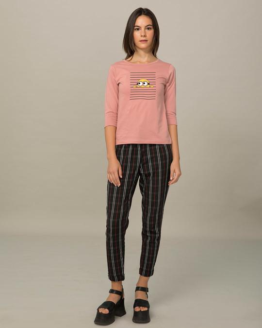 Shop Peek-a-minni Round Neck 3/4th Sleeve T-Shirt-Full