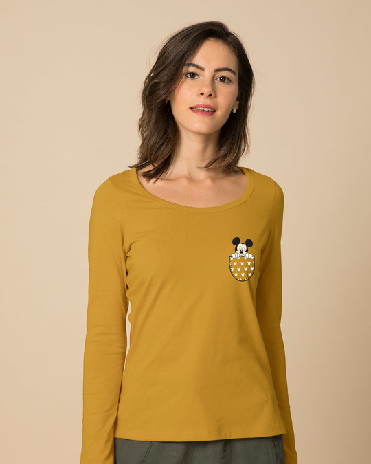 Shop Peek Out Mickey Scoop Neck Full Sleeve T-Shirt (DL)-Back