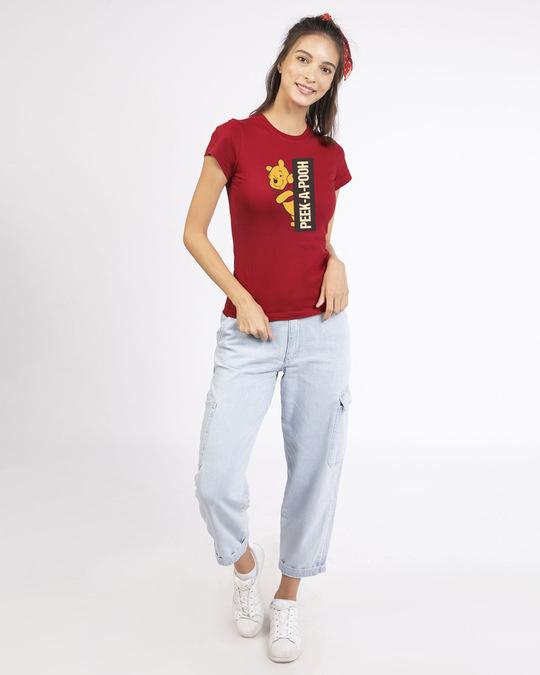 Shop Peeking Pooh Half Sleeve T-Shirt (DL)-Design