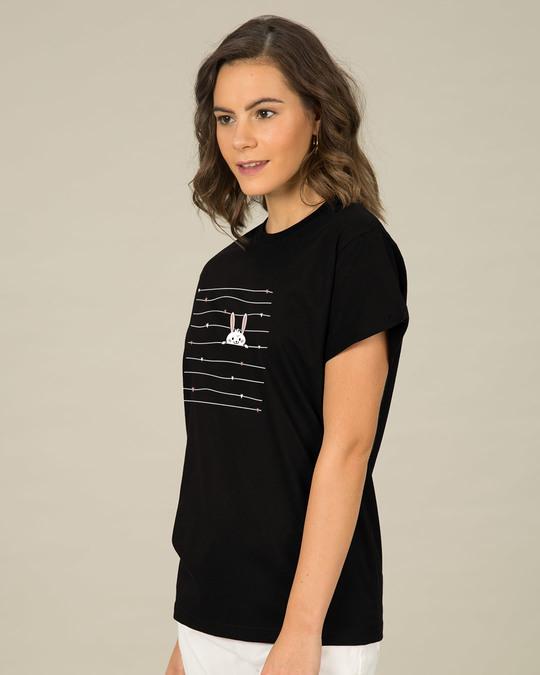 Shop Peeking Rabit Boyfriend T-Shirt-Back