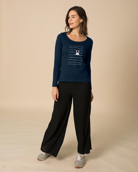 Shop Peeking Rabit Scoop Neck Full Sleeve T-Shirt-Design