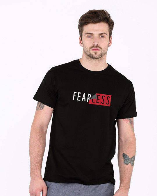 Shop Peel Off Fearless Half Sleeve T-Shirt-Back