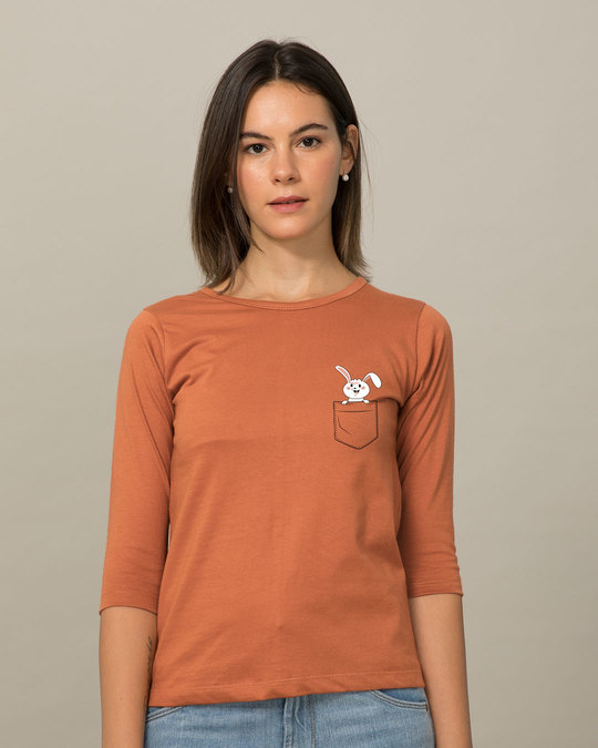 Shop Peeping Bunny Round Neck 3/4th Sleeve T-Shirt-Back