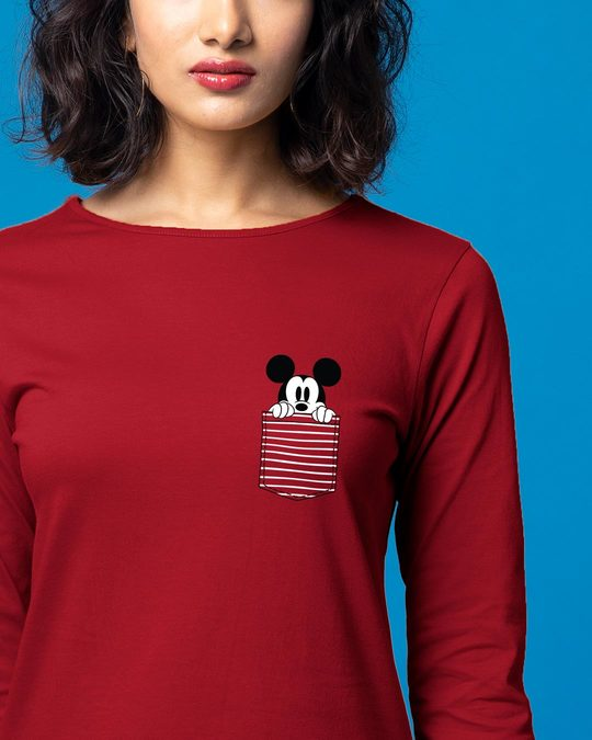 Shop Peeping Mickey Boat Neck 3/4th Sleeve T-Shirt Dress (DL)