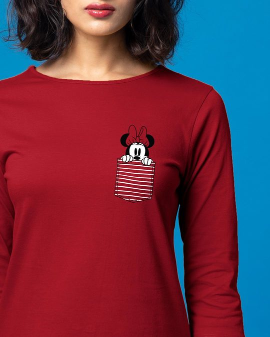 Shop Peeping Minnie Boat Neck 3/4th Sleeve T-Shirt Dress (DL)-Front