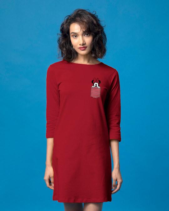Shop Peeping Minnie Boat Neck 3/4th Sleeve T-Shirt Dress (DL)-Back