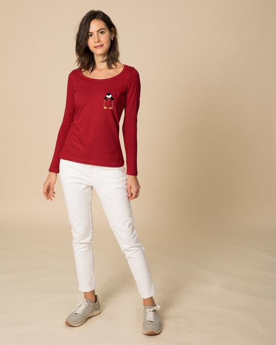 Shop Penguin Hug Scoop Neck Full Sleeve T-Shirt