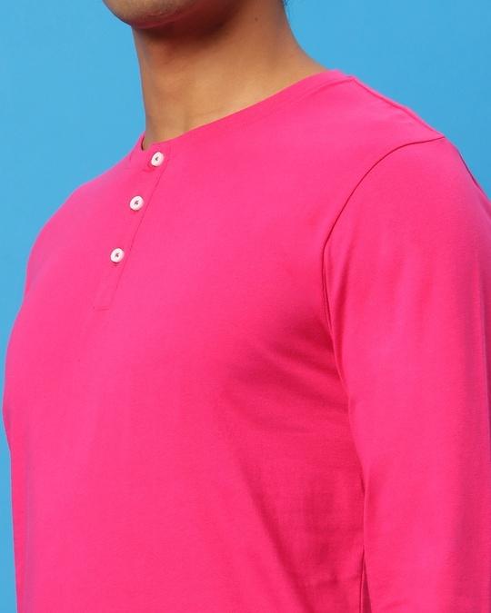 Shop Peppy Pink Henley T-Shirt