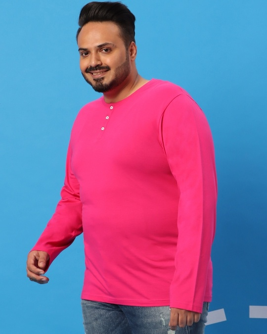Shop Peppy Pink Plus Size Round Neck Henley T-Shirt-Full