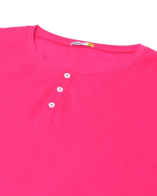 Shop Peppy Pink Plus Size Round Neck Henley T-Shirt-Back