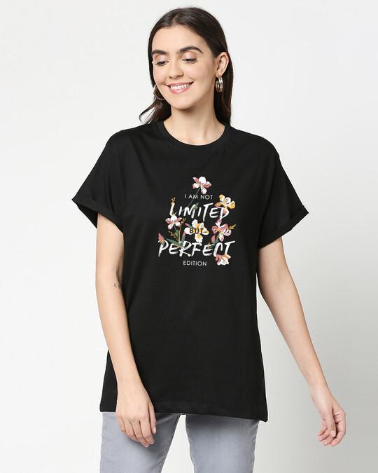 Shop Perfect Flower Boyfriend T-Shirts Black-Front