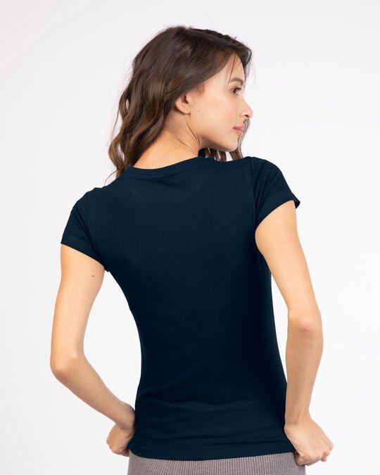 Shop Perfect Illusion Half Sleeve Printed T-Shirt Navy Blue-Back