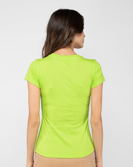 Shop Perfect Minnie Half Sleeve Printed T-Shirt (DL) Neon Green -Back
