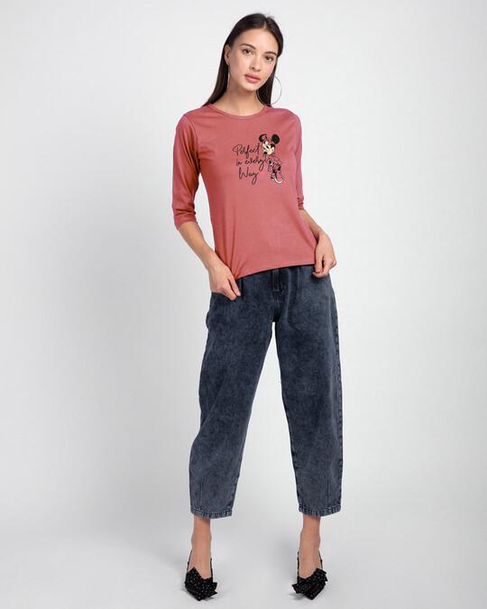 Shop Perfect Minnie Round Neck 3/4 Sleeve T-Shirts (DL) Ginger Spice -Design