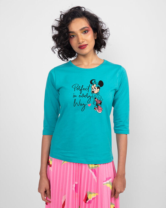 Shop Perfect Minnie Round Neck 3/4 Sleeve T-Shirts (DL) Tropical Blue-Back