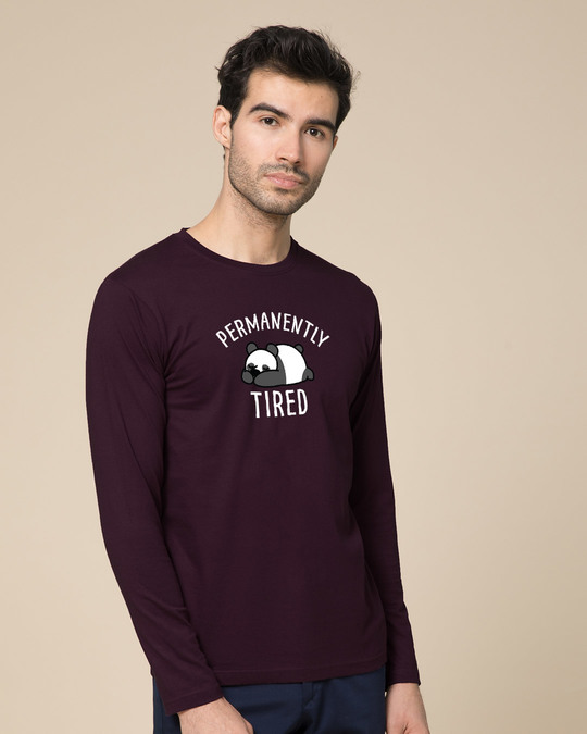 Shop Permanently Tired Full Sleeve T-Shirt-Back