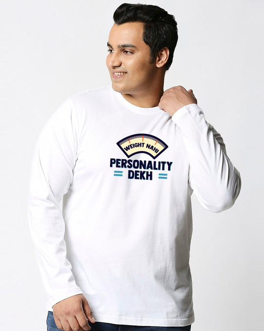 Shop Personality Dekh Full Sleeves Plus Size T-Shirt-Front