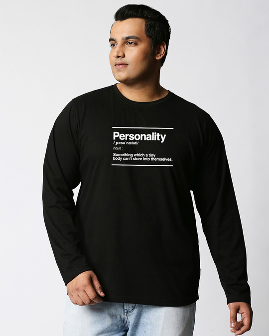 Shop Personality Dictionary Plus Size Full Sleeves Printed T-Shirt-Front
