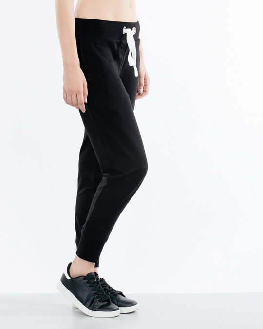 Shop Jet Black Fleece Joggers-Back
