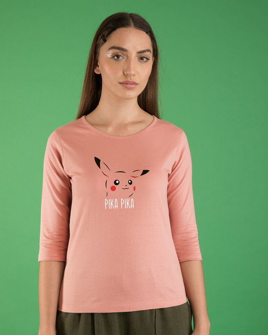 Shop Pika Pika Round Neck 3/4th Sleeve T-Shirt-Front