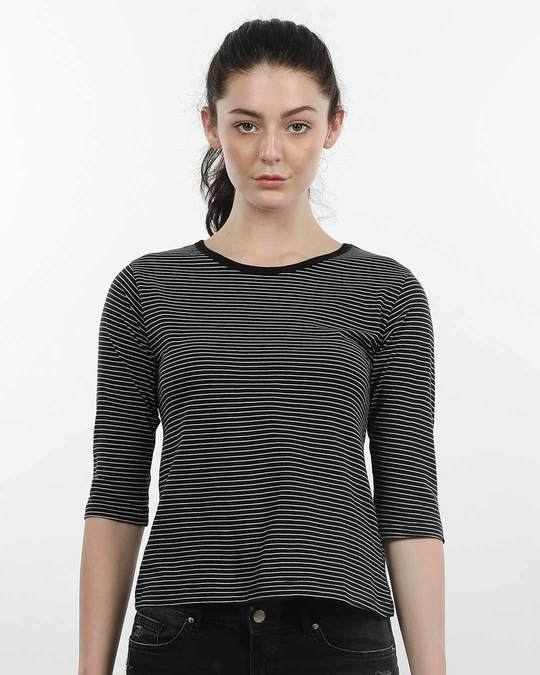 Shop Pin Stripes Round Neck 3/4th Sleeve T-Shirt-Front