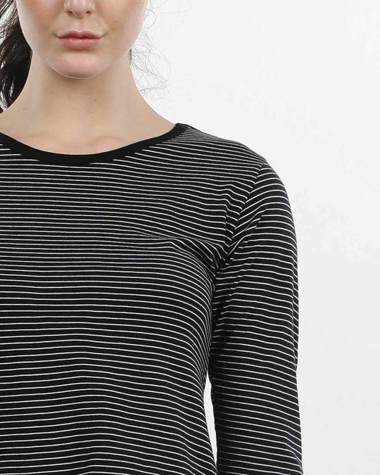 Shop Pin Stripes Round Neck 3/4th Sleeve T-Shirt