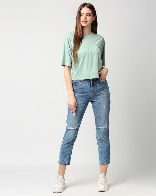 Shop Women's Melange Pin Tuck Top