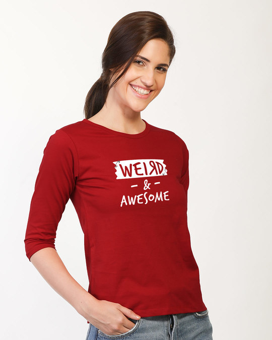 Shop Pin Weird Round Neck 3/4th Sleeve T-Shirt-Back