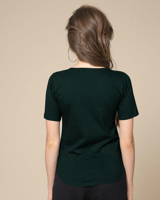 Shop Pine Green Basic Round Hem T-Shirt-Full