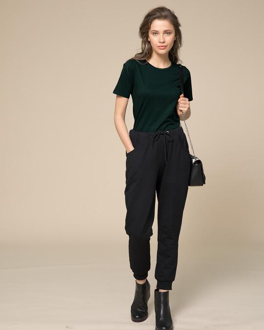 Shop Pine Green Basic Round Hem T-Shirt