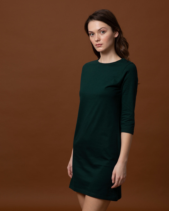 Shop Pine Green Boat Neck 3/4th Sleeve T-Shirt  Dress-Back