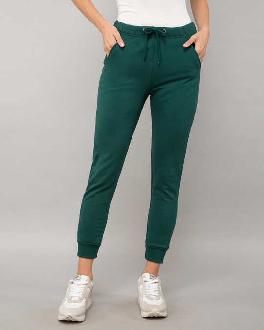 Shop Pine Green Fleece Joggers-Front