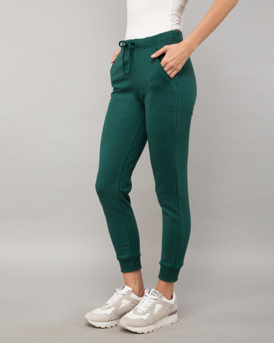 Shop Pine Green Fleece Joggers-Back