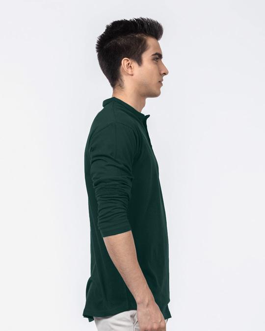 Shop Pine Green Henley Full Sleeve T-Shirt-Back