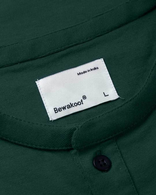 Shop Pine Green Henley Full Sleeve T-Shirt