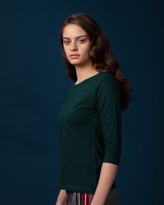 Shop Pine Green Round Neck 3/4th Sleeve T-Shirt-Back