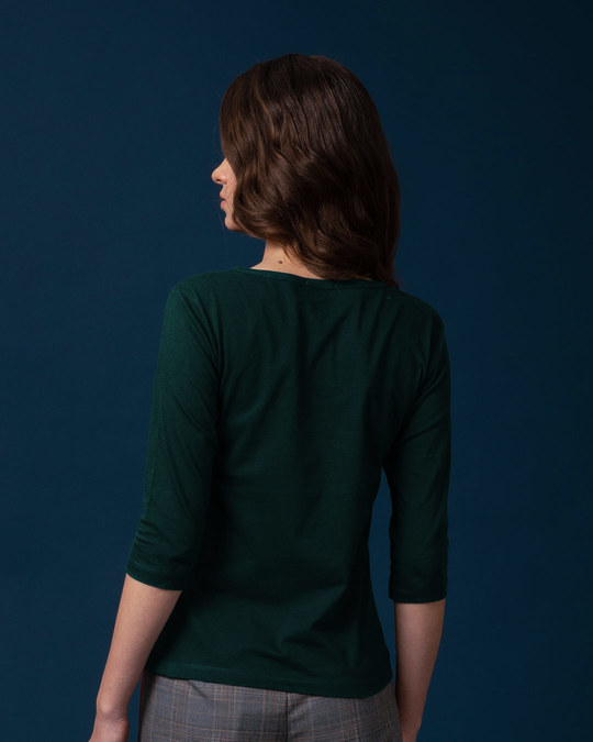 Shop Pine Green Round Neck 3/4th Sleeve T-Shirt-Full